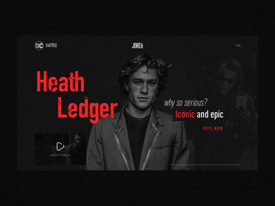 DC BATTLE award. Website concept promo award app shot case motion trend 2019 heath ledger joaquin phoenix movie joker ui design ux design web site website interface animation ux ui