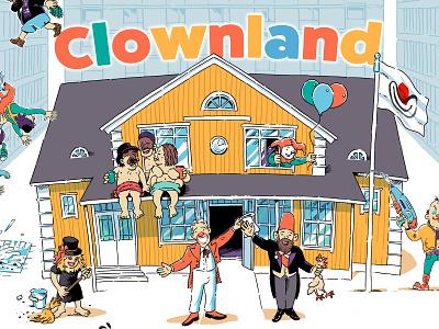 Clownland poster clown circus cartoon illustration illustration
