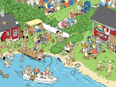 Helsingin Sanomat summer cottage summer advertising campaign illustration cartoon illustration