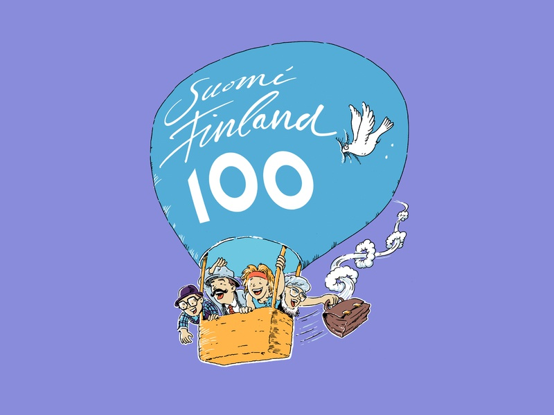 Clownland baloon finland finland100 poster circus clown cartoon illustration illustration