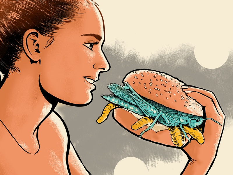 The Future Food character woman eating food editorial illustration