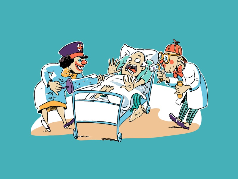 Clownland gag hospital funny character cartoon illustration poster clown circus