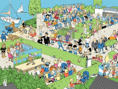 Helsingin Sanomat theater crowded sea soccer summer character advertising campaign illustration