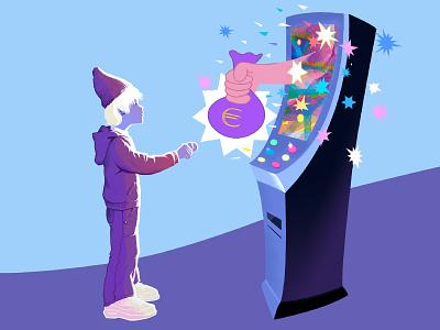 An Instant Hit teenager child hazard gambling reward addiction illustration character editoral slot machine