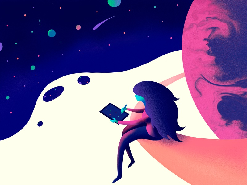 Painting The Stars sketching girl cosmic stars painting procreate illustration
