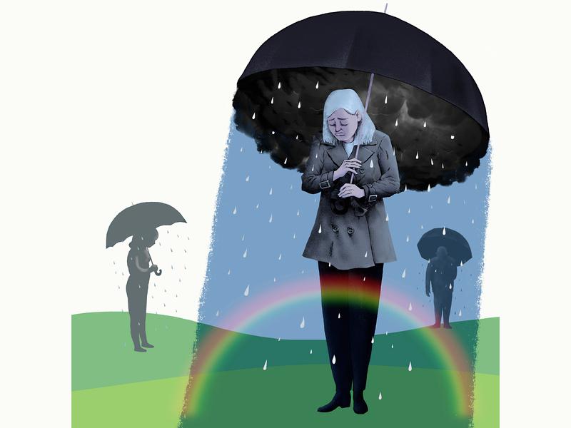 Sorrow depression depressed rainbow hope crying rain pain sadness misery grief illuatration editorial