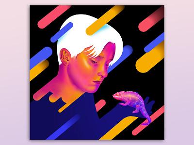 Emil personal son procreate chameleon digital illustration digital painting digitalart illustration boy portrait