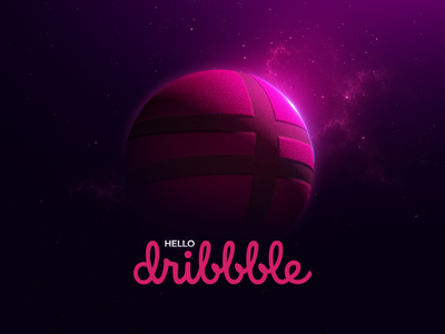 Hello Dribbble debut shot c4d adobe photoshop image manipulation lighting effects texture pink space 3d design