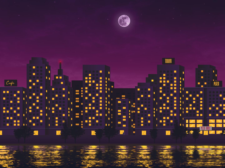 City Lights city background game colors yellow purple adobe illustrator vector