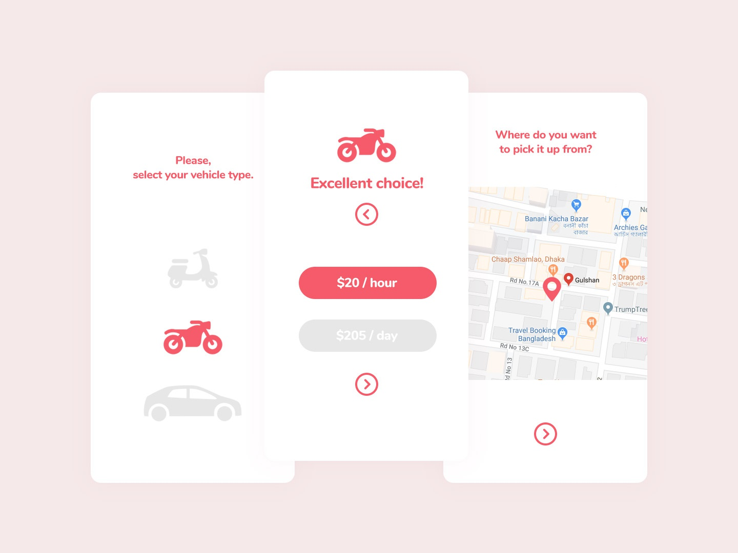 Vehicle Renting App location map rose gold white red minimal rent scooter motorcycle car ride