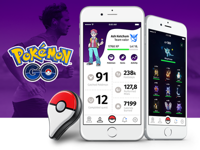 Pokémon Go Redesign - Physical Activity Extension iot pokewalker plus quantified-self running ux ui go pokemon