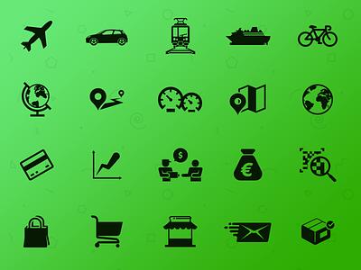 Transport & Commerce transport commerce bank pictogram