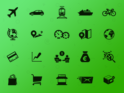 Transport & Commerce transport commerce bank pictogram