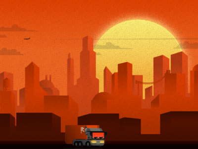 Sunset on the city [WIP] buildings flat design city illustration