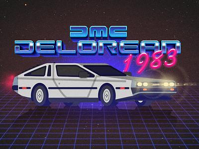 DMC Delorean 1983 back to the future marty mcfly 80s 1983 flat design illustration delorean