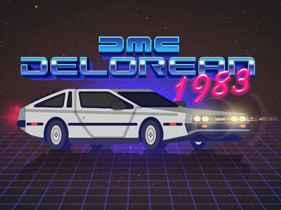DMC Delorean 1983 back to the future marty mcfly 80s 1983 flat design illustration delorean