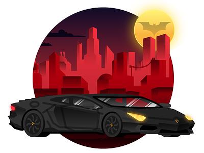 Bruce Wayne's Lamborghini Aventador gotham batman the dark knight illustration city flat design buildings