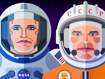 The Space Race moon illustration race space