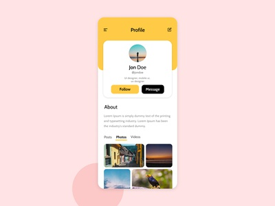 Social Media - Profile page Ui
