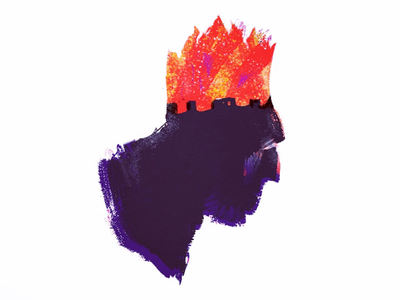 Mad King cartoon character ipadpro procreate art crazy shadow silhouette fire minimal pastels design mad king king drawing illustration