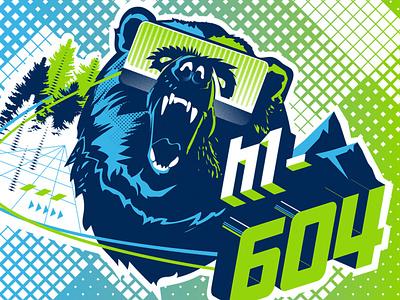 HackerOne Vancouver Identity augmented reality roar hacking digital virtual identity poster grizzly bear grizzly vancouver andculture vr hacker character typography design branding logo illustration