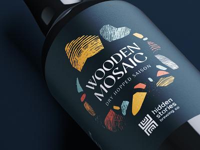 Wooden Mosaic mosaic wood label beer branding typography illustration brewery identity design branding logo beer label
