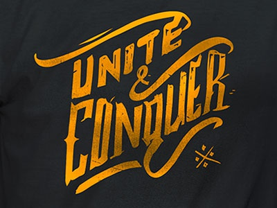 Unite & Conquer t-shirt hand-letter charity grunge
