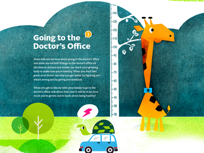 Going To The Doctor illustration giraffe turtle kids children cartoon storybook web character