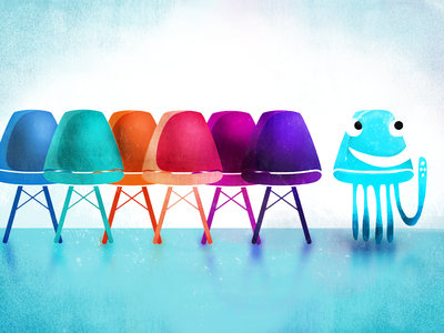 Jim The Jellyfish bright cartoon jellyfish kids character illustration colors eames chairs