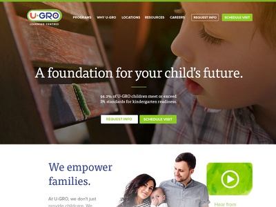 A foundation typography andculture identity branding whitespace clean modern childcare hero web designer website web education green family preschool daycare kids children