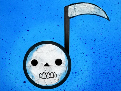 Farewell Rdio simple death skull cartoon illustration music rdio