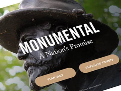 Gettysburg Website Mockup ux ui identity branding hero image statue design america news article events mobile homepage tourism grid typography website civil-war gettysburg