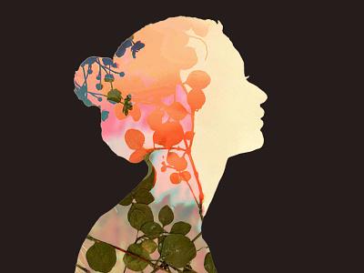 Reverie nature logo daydream flowers character dreamy logo branding minimalist profile silhouette nature illustration label beer