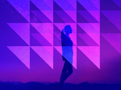 Ascender stars purple pink silhouette illustration