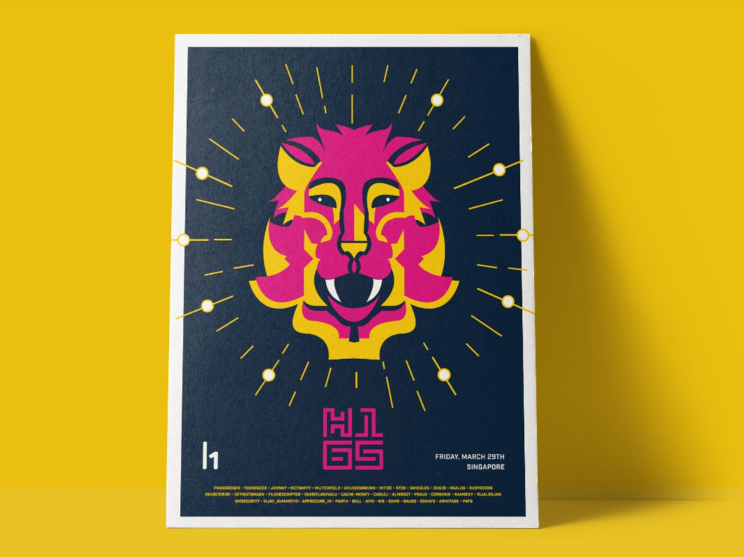 H1-65 MerLion Poster singapore poster logo design character branding illustration