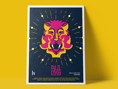 H1-65 MerLion Poster minimal technology roar mascot lion mascot hacker screenprint yellow pink lion singapore poster logo design character branding illustration