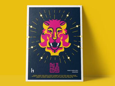 H1-65 MerLion Poster singapore poster logo design character branding illustration