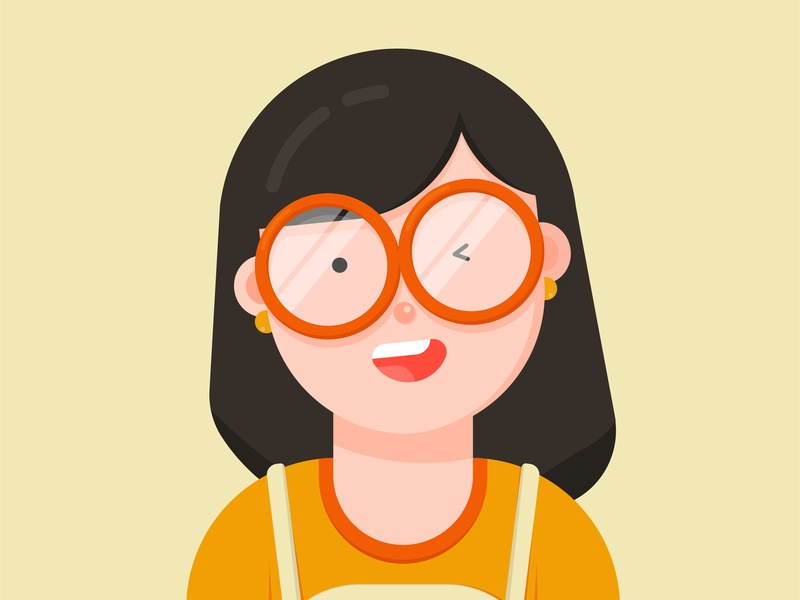 Girl 01 flat vector glasses girl illustration digital art character
