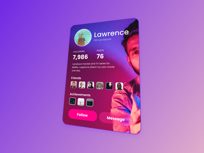 Social Profile mobile app design mobile design social profile card 3d transform ui tricks social media card adobe xd adobexd uidesigner uidesigns uidesign ui