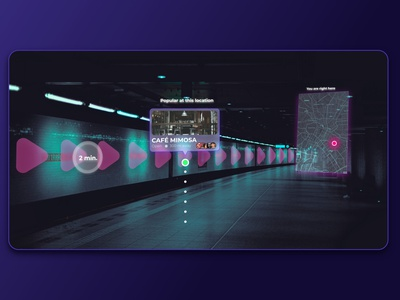 Augmented reality in the subway station futuristic ui futuristic technology design virtualreality ui designer ui design uidesign application augmented reality augmentedreality adobe xd adobexd