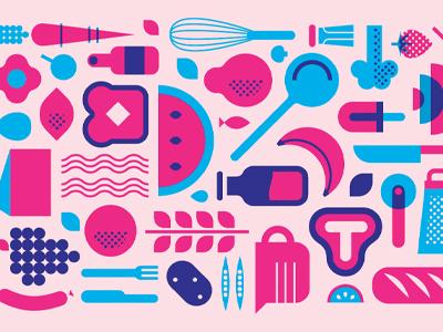 Cookin' pink food illustration