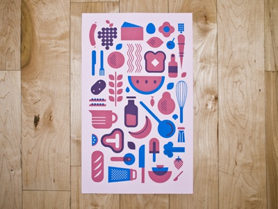 cookin  print screen print food print booklet illustration modern