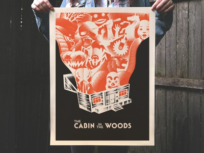 Pandora's Cabin (in the woods) poster movie poster design illustration screen print horror cabin