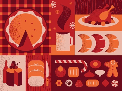 Season's Eatings design illustration greeting card holidays xmas