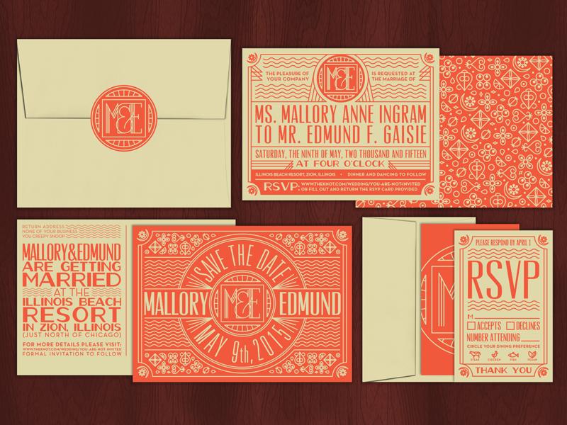 M&E Wedding Set wedding wedding invites stationery logo monogram rsvp invitations art deco typography