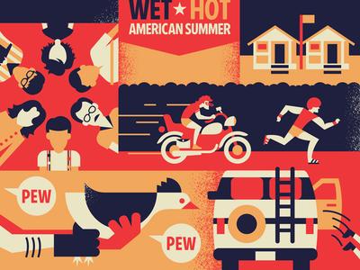 WHAS poster movie poster wet hot american summer vector movie illustration design
