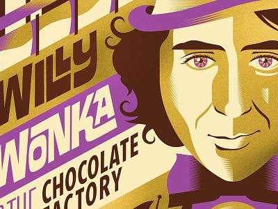 Wonka movie poster willy wonka vector movie illustration design