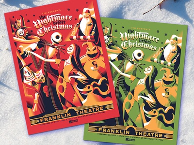 The Nightmare Before Christmas christmas nightmare before christmas screen print poster movie posters illustration design