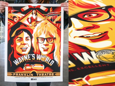 Party time. Excellent. waynes world screen print poster movie posters illustration design