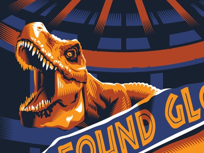 T REX jurassic park dinosaurs screen print poster gig posters illustration design